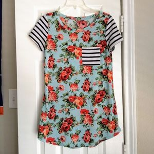 Floral Turquoise Tee